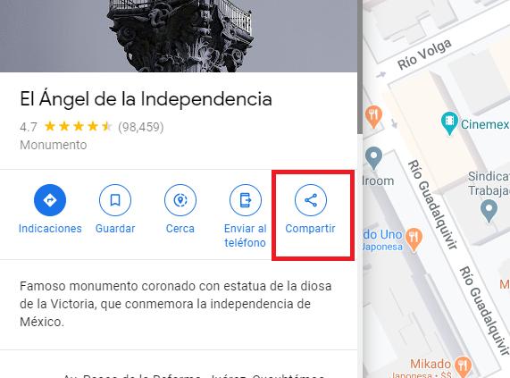 Imagen señalando el boton de compartir en una ubicación de google maps