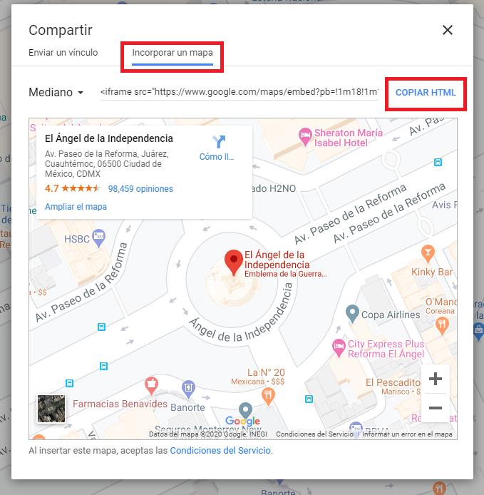 Imagen mostrando los botones para compartir un mapa
